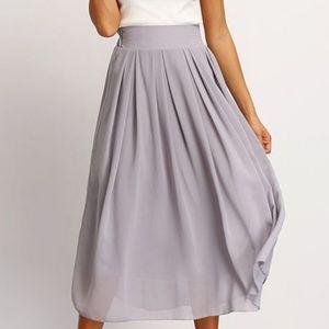 Gray sheer midi skirt